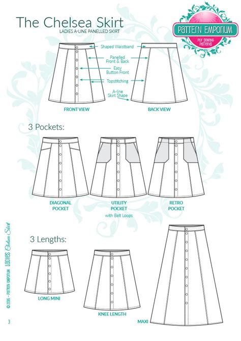pattern ai line ladies a line button front skirt sewing pattern pattern