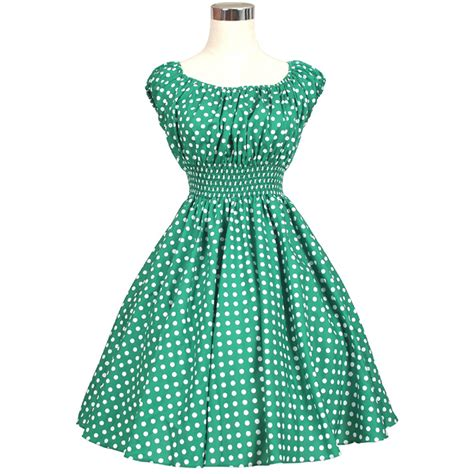 Vintage Retro Dress Rockabilly Swing Jive Floral Dots