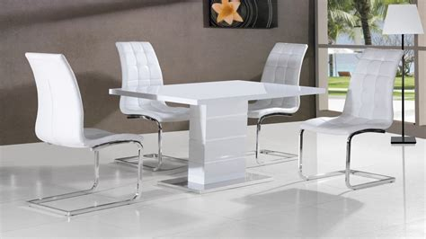 White High Gloss Dining Table And 4 Chairs White High Gloss Dining Table And 4 Chairs Homegenies