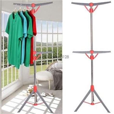 Air Dryer Clothes Rack by Foldable Adjustable Height 2 Tier Tripod Air Clothes