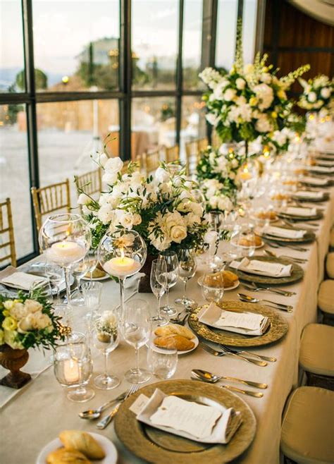 white and gold table decorations white floral arrangements banquet tables and floral