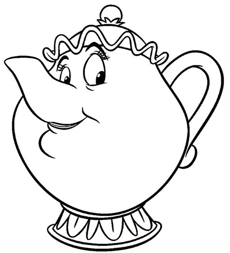 beauty and the beast teapot coloring pages free beauty and the beast coloring pages