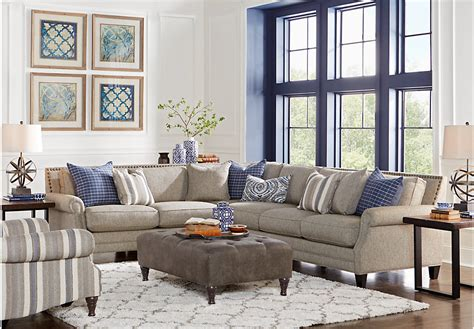 rooms to go living room sectionals piedmont gray 6 pc sectional living room living room