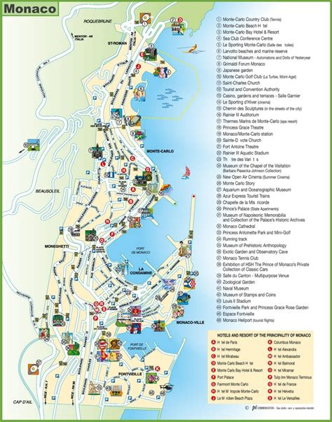 grand map points of interest travel map of monaco with hotels and points of interest