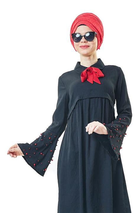 Blouse Yuka Atasan Fashion Tunik 1 veteks line tunik siyah 6313 01 e tesett 252 r