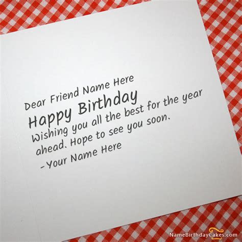 what to write in a birthday card write name on cool birthday card for any friend happy