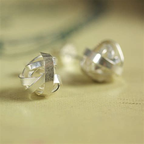 Handmade Stud Earrings - handmade silver knot stud earrings by jemima lumley