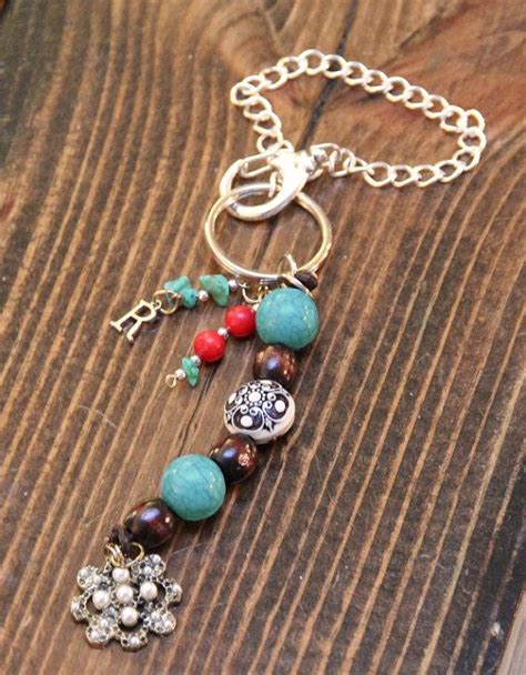 turquoise jeep accessories real turquoise beaded car dangle with pearl pendant key