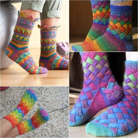 pattern socks knitting diy rainbow color patch entrelac knitting socks with patterns
