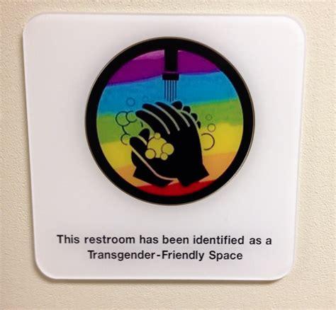 trans inclusive bathroom signs transgender friendly bathroom sign