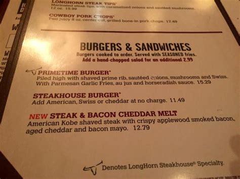 longhorn steak house menu menu picture of longhorn steakhouse manchester