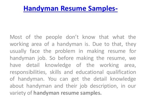 how to handyman resume sles for handyman