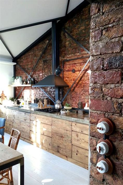 rustic eclectic dining room hardwood brick metal w 25 best ideas about loft kitchen on