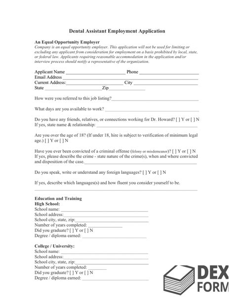 Sle Job Application Download Free Documents For Pdf Word And Excel Dental Assistant Application Template