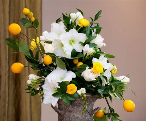 flowers and fruit wedding flower centerpieces with flowers and fruit