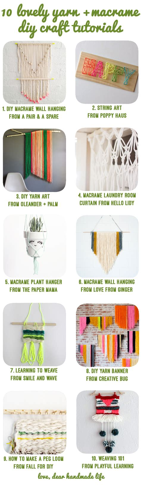 Handmade Craft Tutorials - 10 lovely yarn macrame diy craft tutorials dear