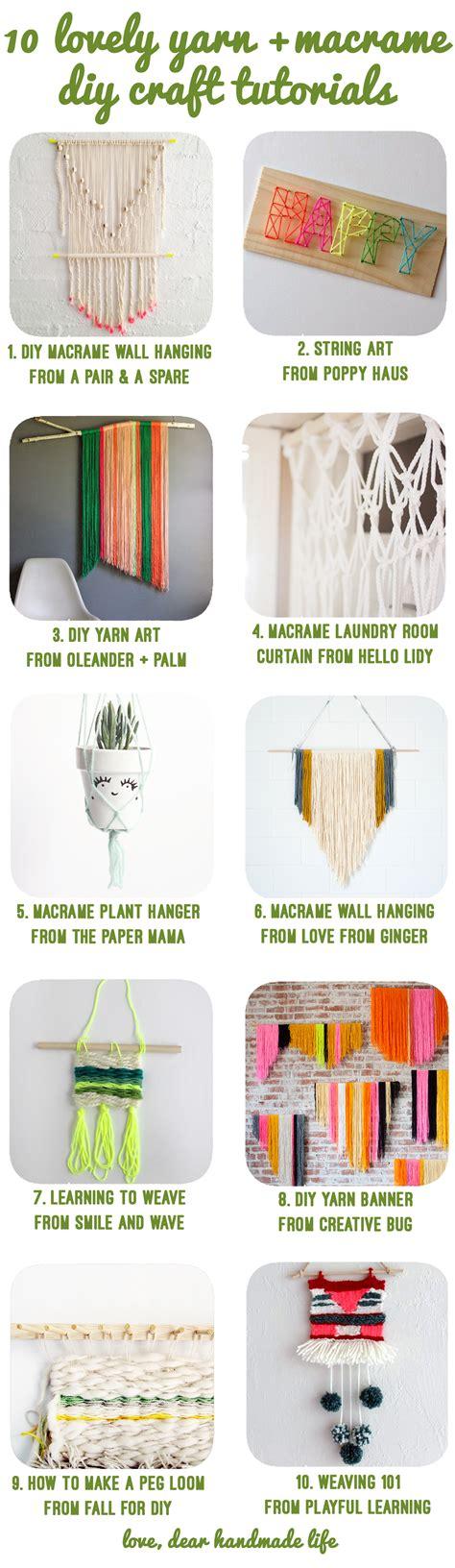 Handmade Craft Tutorial - 10 lovely yarn macrame diy craft tutorials dear