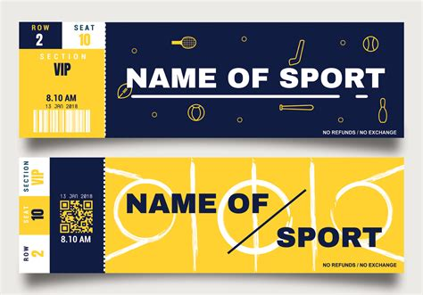 sports ticket template free sporting event ticket template free vector
