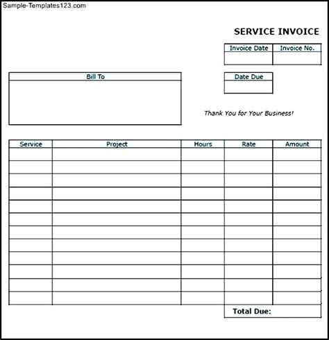blank invoice template doc blank service invoice hardhost info