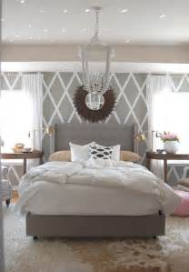 obsessed with this bedroom grey white with gold accents