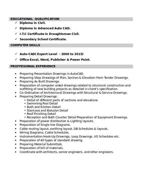 Draftsman Resume Sample by Cad Resume Post