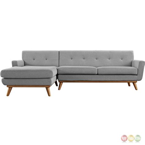 Left Facing Sectional Sofa Engage Left Facing Button Tufted Sectional Sofa With Wood Frame Expectation Gray
