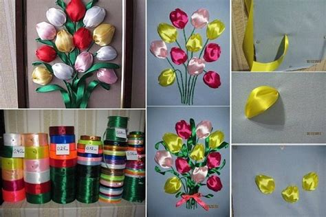 Simple Handmade Decorations - diy easy ribbon tulip flower maybe placing a cotton