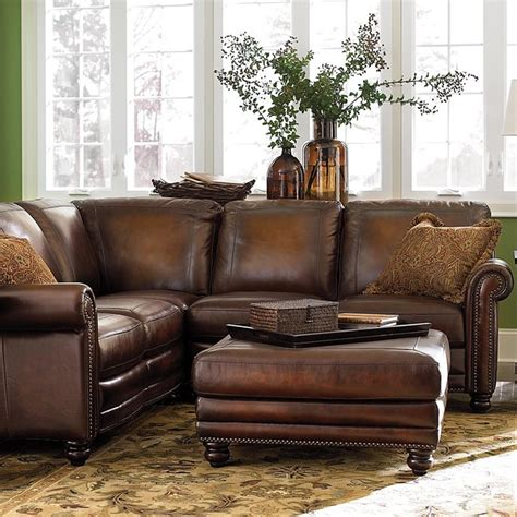 plushemisphere distressed leather sectional sofas