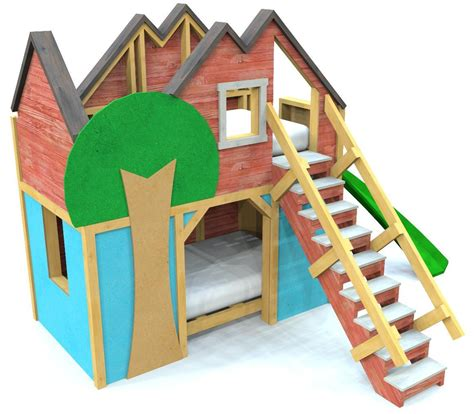 treehouse bunk bed plan  kids  story ft