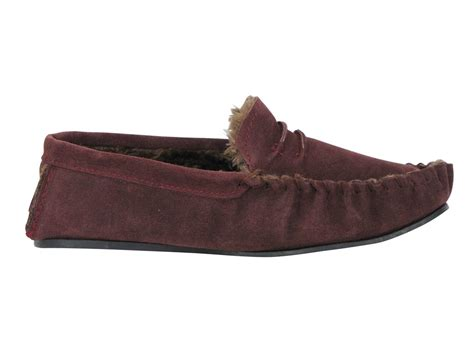 mens fur lined moccasin slippers mens dunlop moccasin everett slippers suede leather