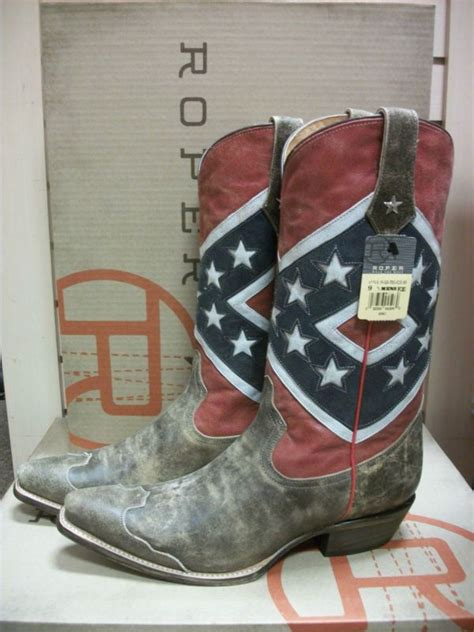 confederate flag boots mens roper brand american rebel flag western boots style