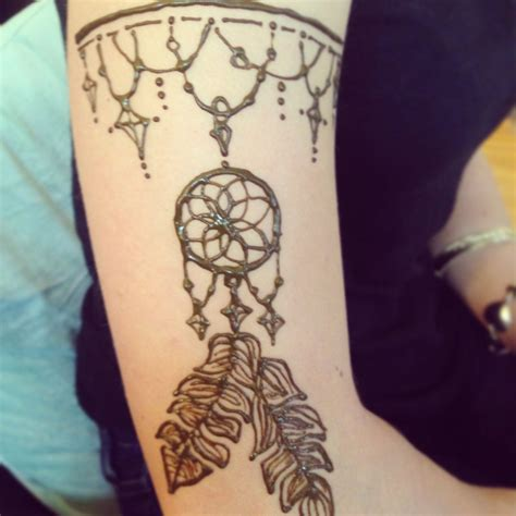 henna tattoo dream catcher henna arm band with feathers necklace drapery
