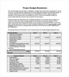 financial breakdown template 10 project budget templates free sle exle