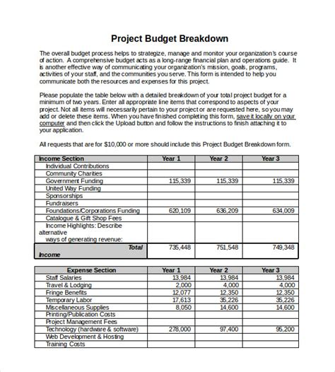 project costs template 10 project budget templates free sle exle
