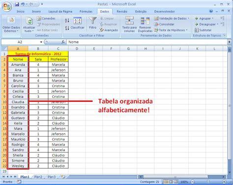 como colocar layout no excel como colocar em ordem alfabetica no excel 2007