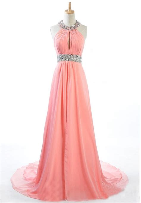 Handmade Prom Dresses - made to order handmade coral halter sequins prom
