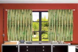 Bamboo Kitchen Curtains Zen Kitchen Curtains Set Green Bamboo Sticks Asian Feng Shui Decor Window Drapes Ebay