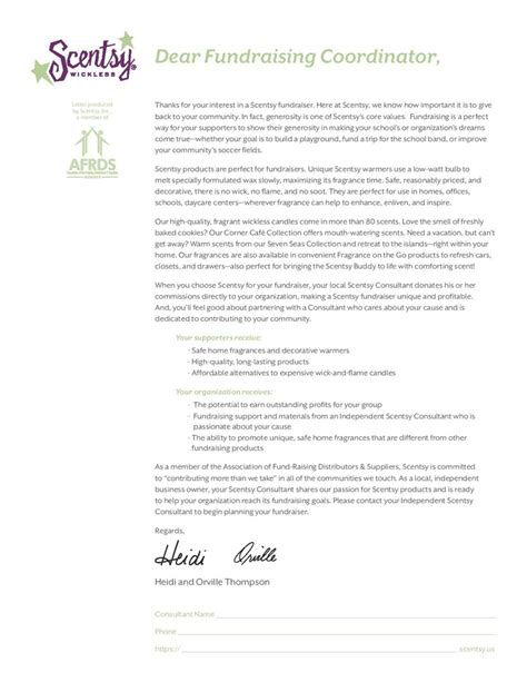 Fundraising Introduction Letter Fundraiser Letter From Heidi And Orville Thompson Scentsy Owners Call Me 920 435 5550 Or