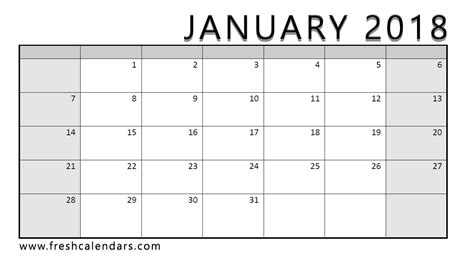 printable monthly calendar for january 2018 january 2018 printable calendar templates