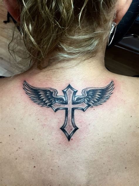 tattoo angel wings and cross collection of 25 cross angel wings tattoo on neck