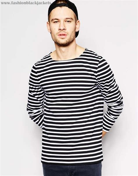 black and white boat neck striped shirt cheap asos mens black white oget748tcci stripe long sleeve