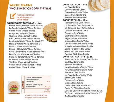 whole grains for wic new mexico wic food list