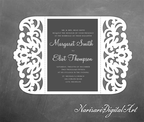 shillouette gate fold card template gate fold laser cut wedding invitation 5x7 lace card