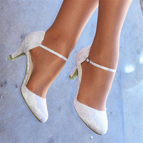 Womens White Wedding Shoes by White Ivory Lace Embellished Low Heel Ankle