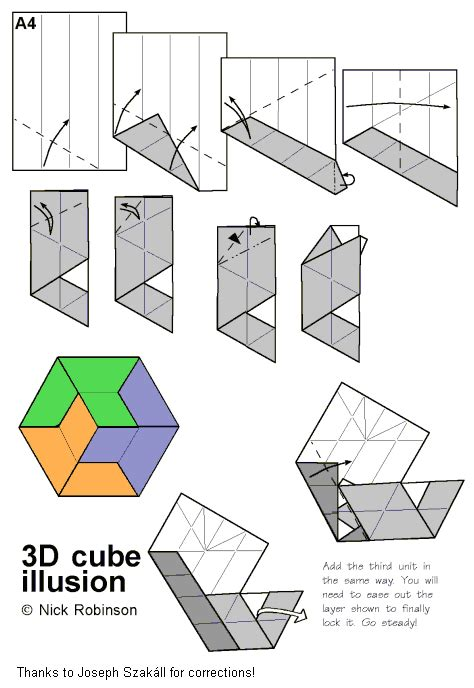 Origami Illusions - 3d cube illusion by nick robinson