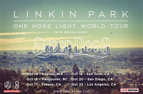 light tour linkin park ft snoop dogg one more light tour ticket