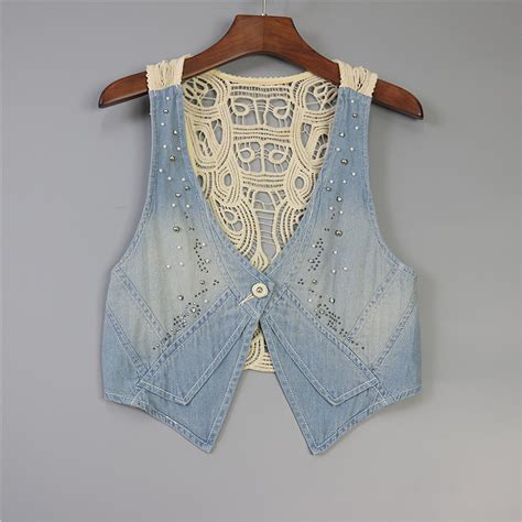 Vest Cardigan Denim denim vest sleeveless jacket slim coat cardigan lace vest plus size for casual