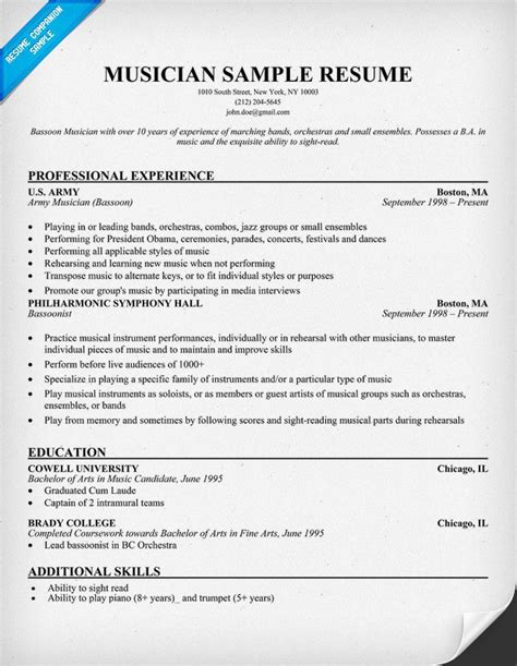 free musician resume exle resumecompanion com