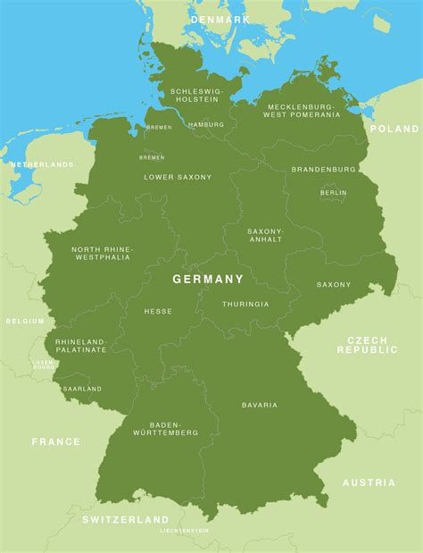 germany state map map of germany german states bundesl 228 nder maproom
