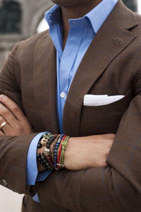 Men's Blue Dress Shirt, Brown Plaid Blazer, and White Pocket Square   Lookastic for Men